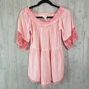 NWT Umgee Pink Off the Shoulder Lace Trim Shirt S